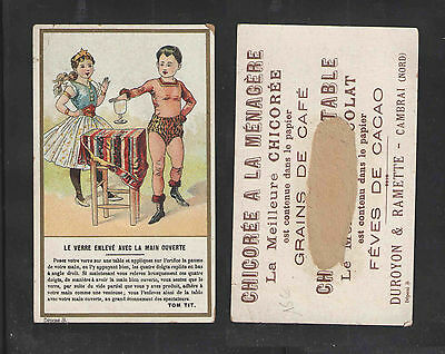 1880s MAGIC SHOW CHICKOREE A LA MENAGERE COFFEE FRENCH VICTORIAN TRADE CARD