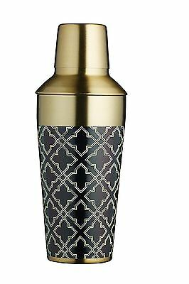 BarCraft Art Deco Style Cocktail Shaker in Metallic Brass Finish