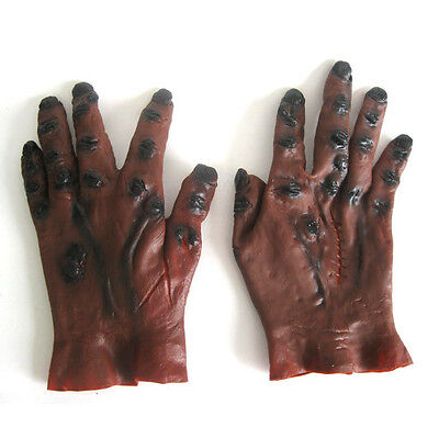 Brown Rotting Zombie Undead Hands Gloves Halloween Monster Costume Adult