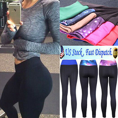 Women YOGA Workout Gym Sports Pants Leggings High Waist Fitness Trousers US Y493