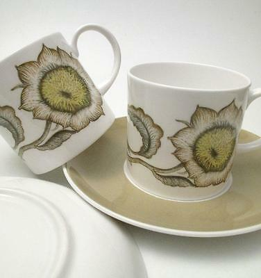 Pair Of Vintage Susie Cooper Sunflower Pattern Coffee Cups And Saucers