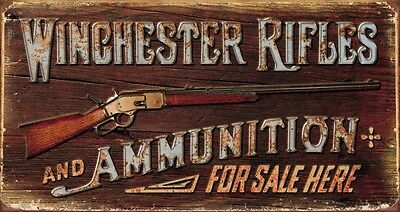Collectible Vintage Winchester - Rifles & Ammo Tin Metal Sign 16 x 9in