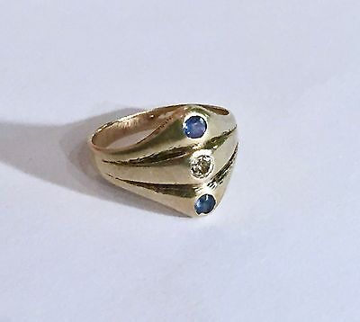 Vintage 14K Yellow Gold Ring with Diamond & Sapphires Size 5