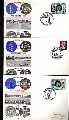 Covers (3) CRICKET AUSTRALIAN CENTENNIAL TOUR 1977 Birmingham LEEDS Nottingham