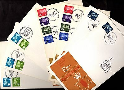 7 x First Day Issue Covers REGIONAL DEFINITIVES Northern Ireland & Wales 1974/76