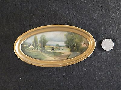 Antique Small Oval Picture 6.25 x 3.25 Pastoral Gilt Metal Frame