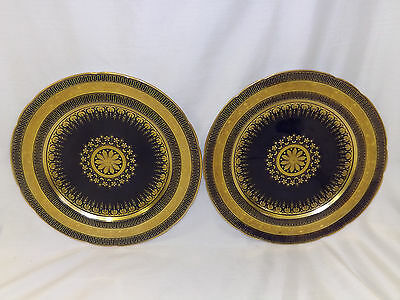 Vintage Minton China 2 Luncheon Plates Heavy Gold Embossed Medallion Cobalt Blue