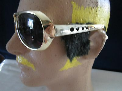 ELVIS GOLD ROCK & ROLL SUN GLASSES WITH SIDEBURNS SUNGLASSES Halloween COSTUME
