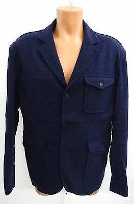 Mother Freedom Mens Whelden Flannel Knit Jacket Dark Blue Size US 44
