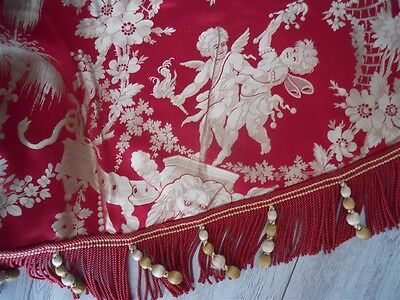 Antique French  Valance 19Th-Century  Pink   Silk  Butterfly  Trim 19Th-Cent.