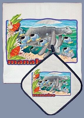 Dish Towel & Pot Holder - Manatee DP814