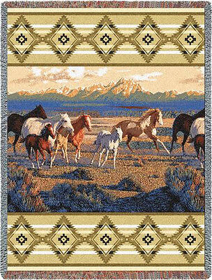 Throw Tapestry Afghan - Wild Horses (Beige) 3286