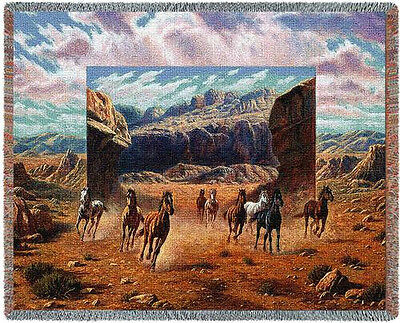 Throw Tapestry Afghan - Running Horses 4790