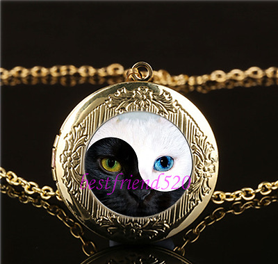 Ying and Yang Cat Eye Cabochon Glass Gold Plating Locket Pendant Necklace