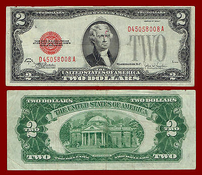 """1928-F Two Dollars """"united States Note"""" $2 (Red Seal Note) 8008"""