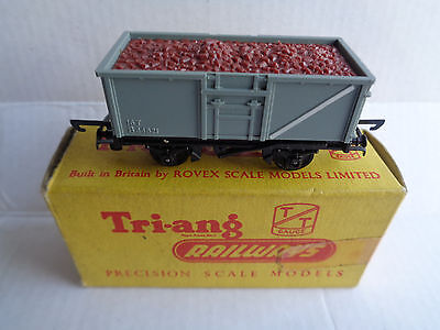 TRIANG TT Gauge Railway T70 mineral wagon grey body with ore load - comes boxed