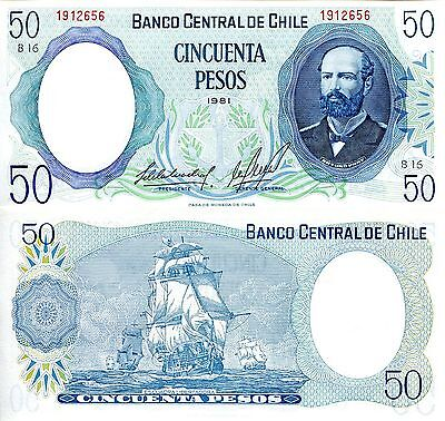 CHILE 50 Pesos Banknote World Paper Money UNC Currency Pick p-151b Note BILL