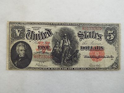 Series 1907 Large Size Woodchopper $5 US Legal Tender Note FINE  Fr# 91