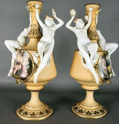 Antique Pair of Haviland Limoges Porcelain Figural Classical Urns