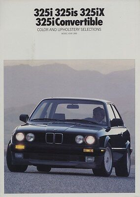 1989 BMW 325i 325is 325iX 325i Convertible Color & Upholstery Brochure d0818