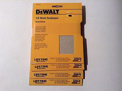 "Dewalt DW4128 1/4"" Sheet Sandpaper Assortment (4 Packs)"