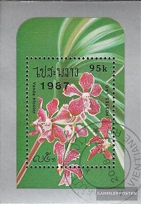 Laos block118 fine used / cancelled 1987 Orchids