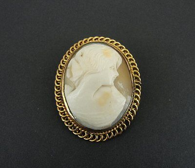 Vintage Old Shell Cameo Yellow Gold 12K Pin BROOCH
