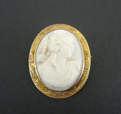 Old Vintage Shell Cameo 10K Yellow Gold Pendant BROOCH Pin