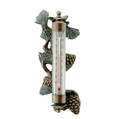 Brass Pinecone Wall Mounted Thermometer