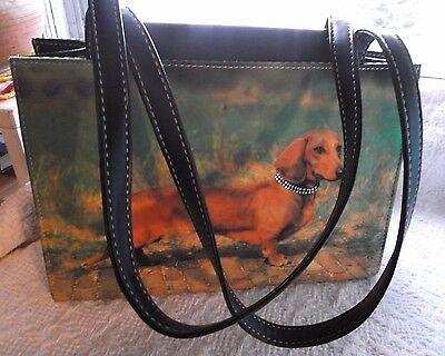 NEW / OLD STOCK ~~ Red DACHSHUND Dog HandBag - EXCELLENT Condition ~ PURSE