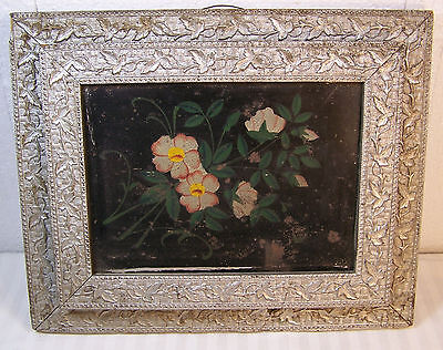 Antique Victorian Secret Wall Pocket Ornate Wood Picture FRAME w/Tin insert