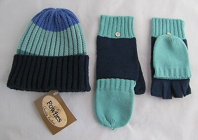 FOWNES* Ribbed Knit Hat and Convertible Mittens to Gloves Set ~ one size ~ NWT