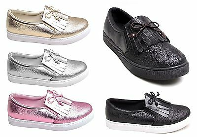 Womens Glitter Tassel Fashion Casual Lace Trainers Pumps Sneakers Girls Ladies