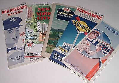 5 vintage Gas Station maps NY PA Atlantic , Sunoco Esso Texaco 1960s