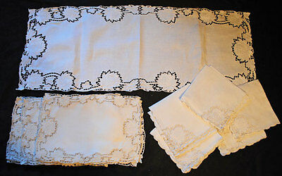Vintage Linen Madeira Placemat Napkins Table Runner Hand Embr. Set 17 Pieces