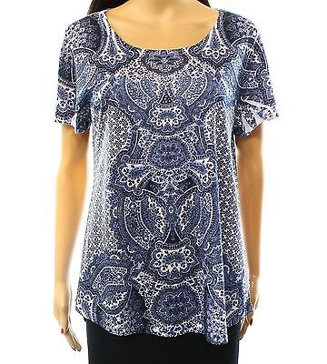 NWT STYLE&co. Blue Paisley Knit Top Short Sleeve Tee T-Shirt Embellished S