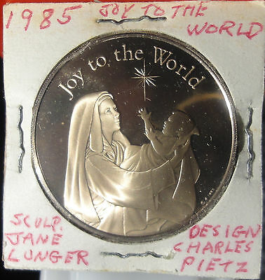 1985 Franklin Mint Bronze Proof Christmas Medal ~BU~JOY TO THE WORLD~Comb.S.& H.