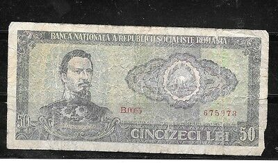 ROMANIA #96a 1966 GOOD CIRC OLD 50 LEI BANKNOTE PAPER MONEY CURRENCY BILL NOTE