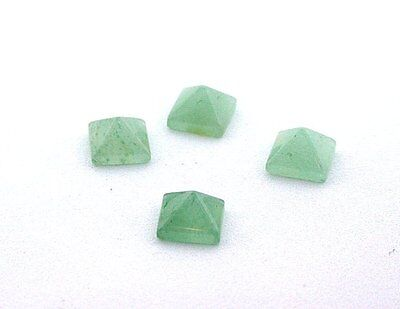 TWO 8mm Green Aventurine Square Pyramid Cab Cabochon Gem Stone Gemstone EBS7557