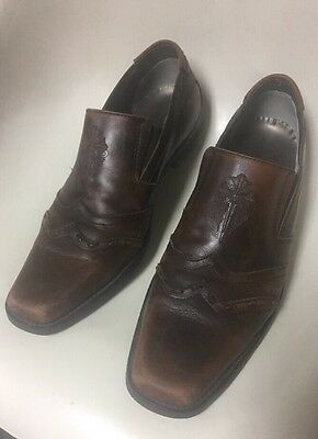 Mark Nason Lounge Weathered Distressed Brown Leather Loafer Shoes Men's 10