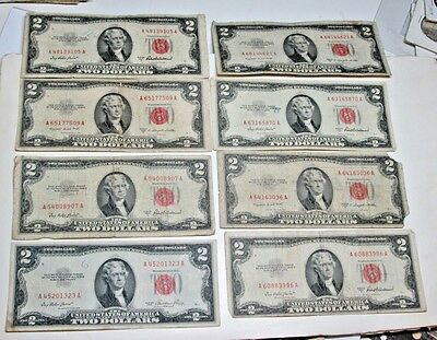 Lot of 8  $2.00 Bills red seal  1953 Series  United States Notes