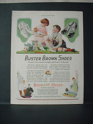 1924 Buster Brown Kids Shoes Full Page Color Kids Play Vintage Print Ad 11709