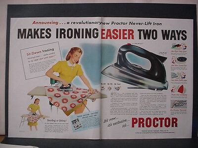 1947 Proctor Steam Iron Full Double Page Color Vintage Print Ad 11699