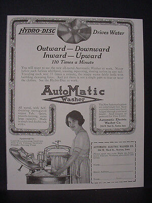 1924 AutoMatic Hydro-Disc Clothes Washer Appliance Vintage Print Ad 11789