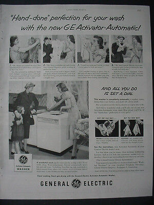 1951 GE General Electric Washer Appliance Activator Auto Vintage Print Ad 12295