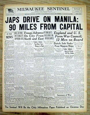 <10 WW II 1941 newspapers JAPAN ATTACKS PHILIPPINES Luzon Battle of MANILA