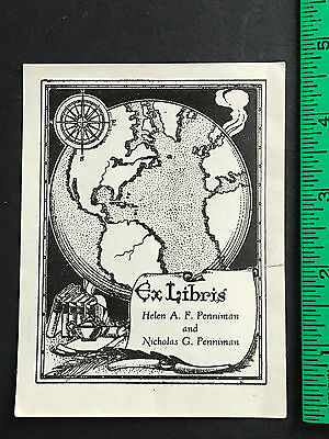 Planet Earth old map Penniman Library vtg Ex-Libris Book Plate