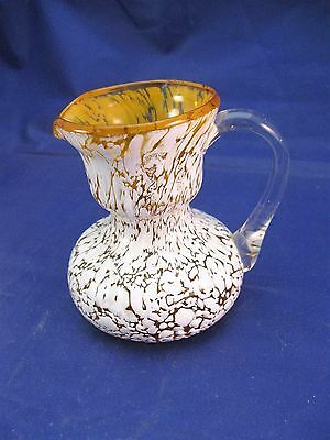 Hand Blown Vintage Spatter Glass Creamer Pitcher - FREE SHIPPING