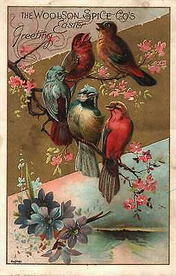 Vintage Victorian Trade Card Lion Coffee Wollson Spice Co. Easter Greetings