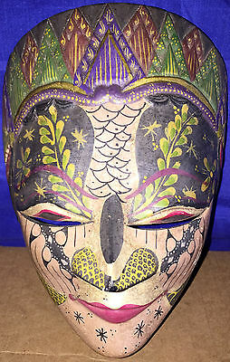 Vintage Malaysia Indian HAND CARVED WOODEN MASK Very Beautiful